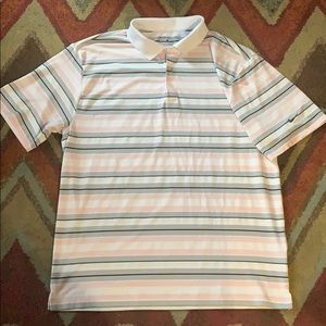 Nike dri fit golf polo pink and grey stripe large